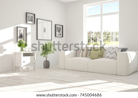Idea Of White Room With Sofa And Summer Landscape In Window. Scandinavian  Interior Design.