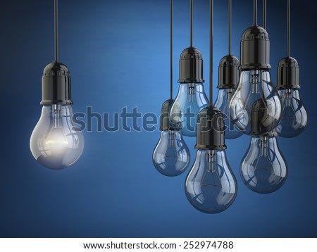 Idea or leadership concept. Group of light bulbs on the blue background. 3d - stock photo