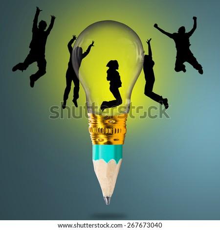 Idea Plant light bulb green enegy in the future - stock photo