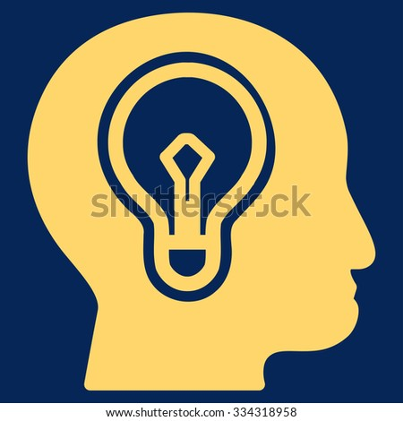 Idea raster icon. Style is flat symbol, yellow color, rounded angles, blue background. - stock photo