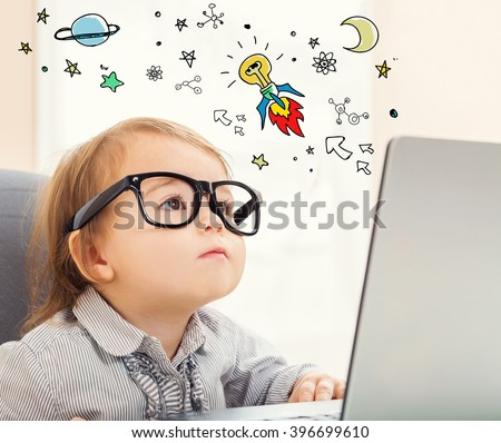 Idea Rocket concept with toddler girl using her laptop - stock photo