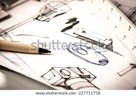 idea sketch of product design - stock photo