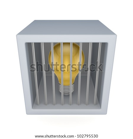 Idea symbol in a jail.Isolated on white background.3d rendered. - stock photo