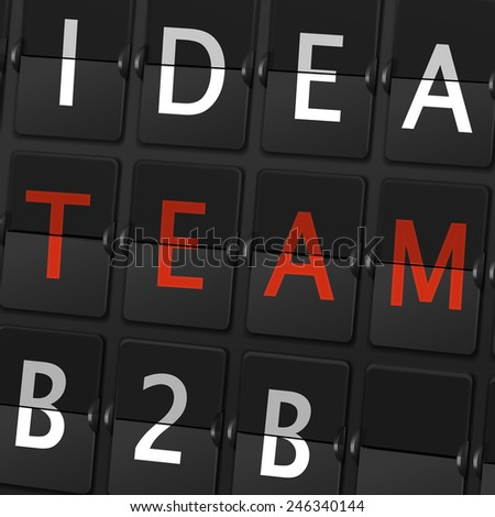 idea team B2B words on airport board background - stock photo