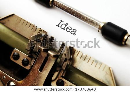 Idea text on typewriter - stock photo