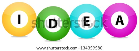 Idea Text Written On Colored Balls - stock photo