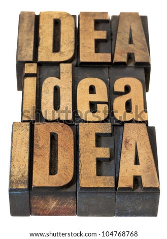 idea word abstract - isolated text in vintage letterpress wood type - stock photo