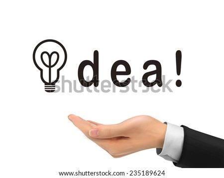 idea word holding by realistic hand over white background