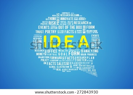 IDEA word on speech bubble in blue background - stock photo