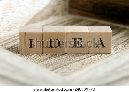 idea word on wood blocks