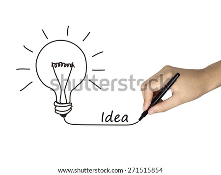 idea word written by human hand over white background - stock photo