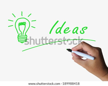 Ideas and Lightbulb Indicating Bright Idea and Concepts
