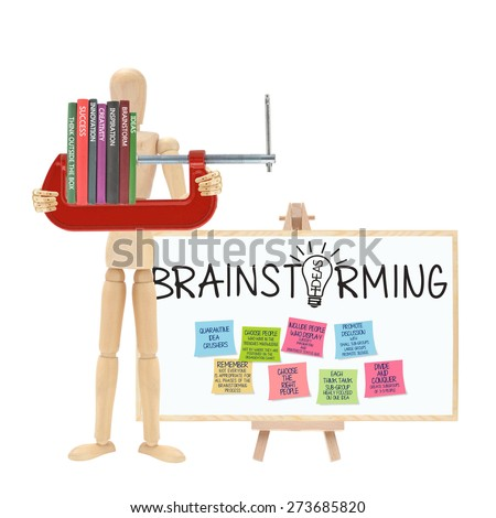 Ideas, Brainstorm, Inspiration, Creativity, Innovation, Success, Think outside the Box Books in Vice Grip Brainstorming Blackboard Box with post it notes - stock photo