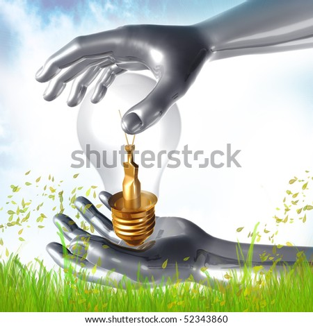 Ideas bulb and silver hand illustration