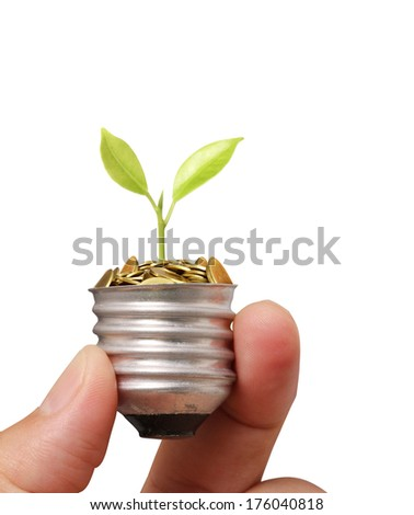 Ideas bulb light in the hand  - stock photo