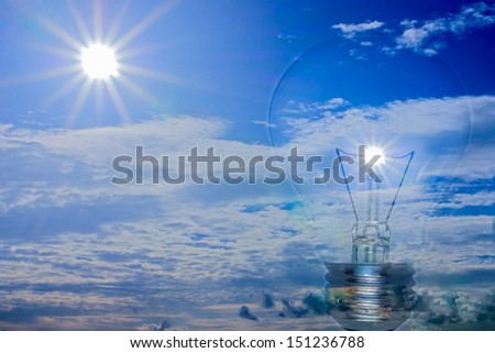 Ideas, energy from the sun into electric lamps energy. - stock photo