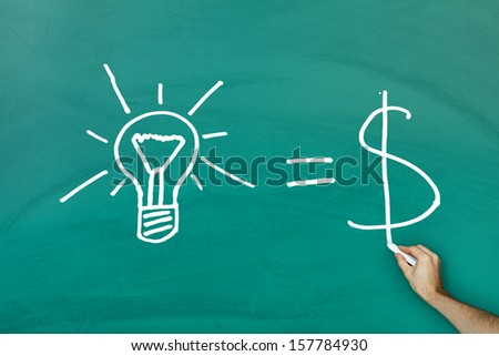 Ideas equal cash concept on green blackboard - stock photo