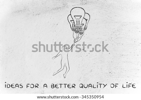 ideas for a better quality of life: person flying by holding up to lightbulb shaped balloons - stock photo