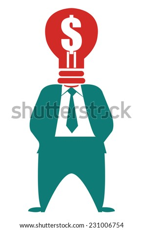Ideas for Generating Extra Income, Businessman With Dollar Currency Lamp Head Isolated on White Background - stock photo