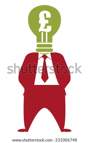Ideas for Generating Extra Income, Businessman With Pound Currency Lamp Head Isolated on White Background - stock photo