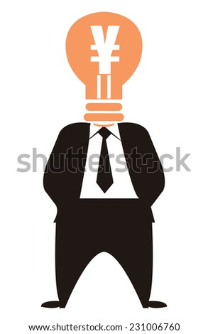 Ideas for Generating Extra Income, Businessman With Yuan or Yen Currency Lamp Head Isolated on White Background - stock photo