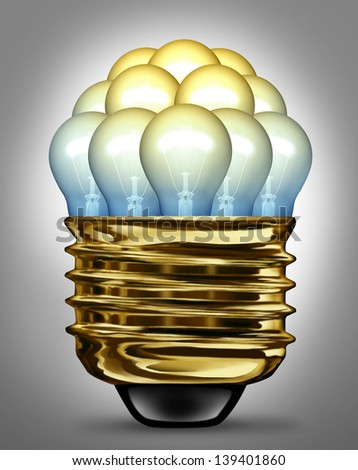 Ideas organization group and creativity partnership concept with glowing light bulbs organized in a united team as a symbol of the power of working together for innovation success. - stock photo