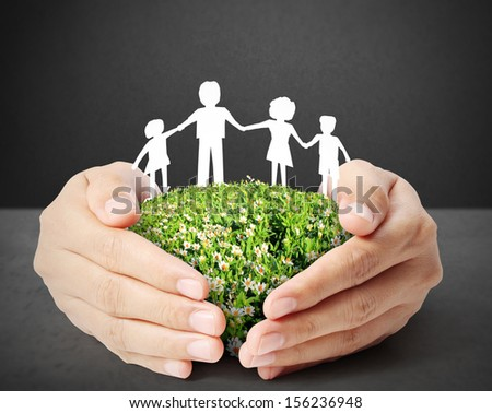 ideas,paper family on the hand - stock photo