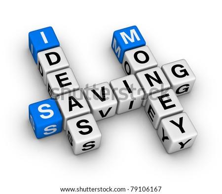 ideas saving money crossword - stock photo