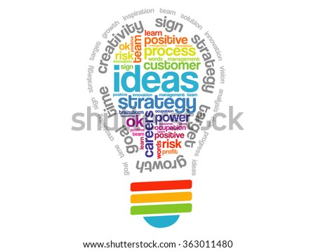 Ideas Sphere Bulb Words Cloud, business concept   - stock photo