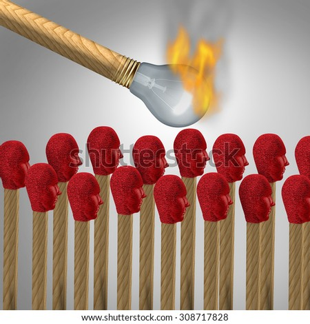 Ideas that catch on concept as a viral marketing symbol and spreading a popular idea or social brainwashing as a lit match shaped as a light bulb lighting a group of matches shaped as human heads. - stock photo