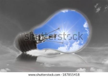 Ideas, with the sun in a light bulb. - stock photo