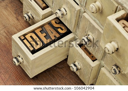 ideas word in vintage letterpress wood type in a drawer of antique apothecary cabinet - brainstorming concept - stock photo