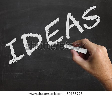 Ideas Word On Blackboard Means Concepts Plans And Innovation