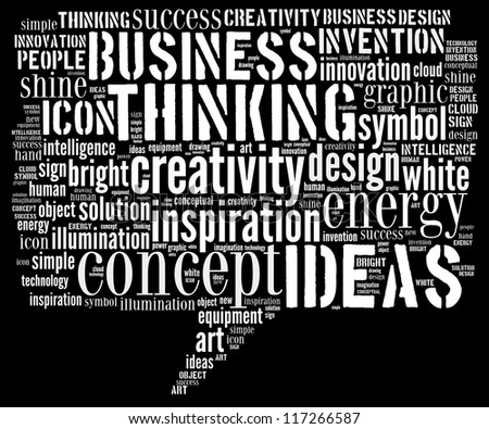 Ideas words clouds shape isolated in white background