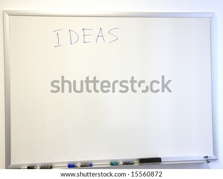 Ideas written on a white board in an office