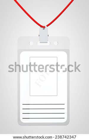 Identification card with place for photo and text on a white background