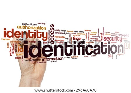 Identification concept word cloud background - stock photo