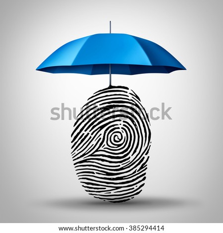 Identification protection and ID fraud safety as an umbrella protecting a fingerprint or finger print icon as an identity security symbol and consumer information guard. - stock photo