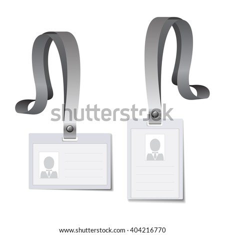 Identification white blank plastic id cards, lanyard mockup, id card, pass cardkey