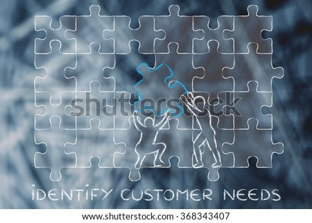 identify customer needs: men completing a jigsaw puzzle with the missing piece