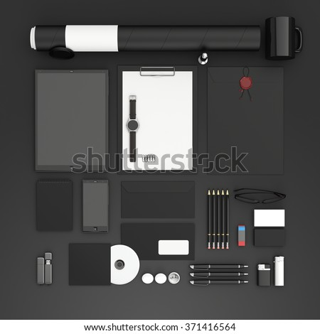 Identity mock up. Set of blank stationery for branding identity on black background. Flat lay. Tablet, smart phone, smart watch, paper A4, CD envelope, flash drive, business cards, tube. 3D render. - stock photo