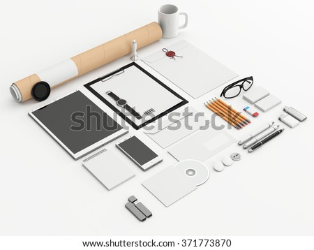 Identity mock up. Set of blank stationery for branding identity on white background. Tablet, smart phone, smart watch, paper A4, CD envelope, letterhead, flash drive, business cards, tube. 3D render. - stock photo