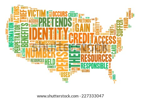 Identity theft concept with tag cloud forming the sahpe of American map