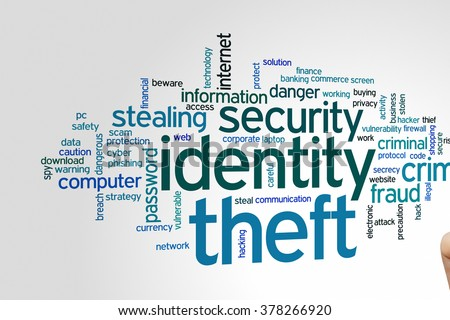 Identity theft concept word cloud background - stock photo