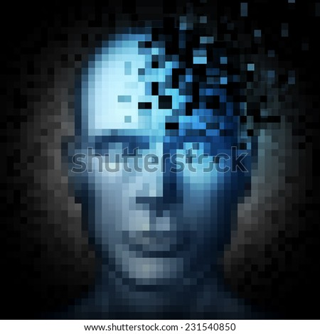 Identity theft internet security concept as a human face that is pixelated with pixels being taken away as a metaphor and technology symbol for protection of personal information on social media. - stock photo