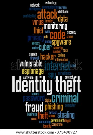Identity theft, word cloud concept on black background.
