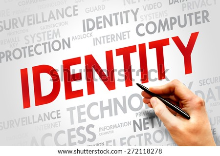 IDENTITY word cloud, security concept - stock photo