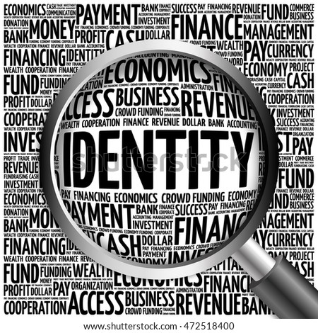 IDENTITY word cloud with magnifying glass, business concept 3D illustration