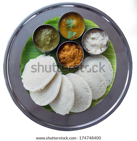 Idli and sambar isolated on white background.  South Indian Snack - stock photo