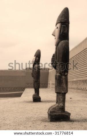 Idols at Chan, Chan, Peru - stock photo
